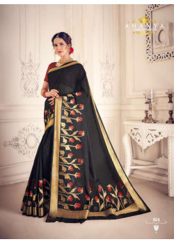 Adorable Black Silk Saree with Maroon Blouse