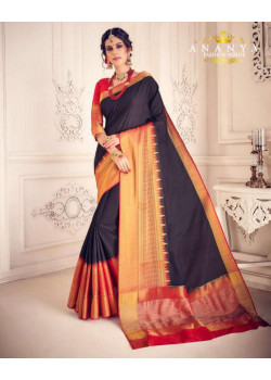 Luscious Black Silk Saree with Red Blouse