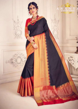 Luscious Black Silk Saree with Red Blouse
