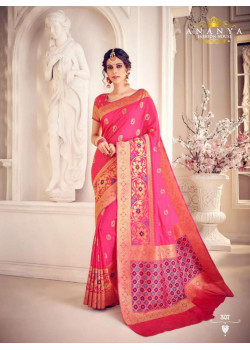 Trendy Magenta Silk Saree with Magenta Blouse