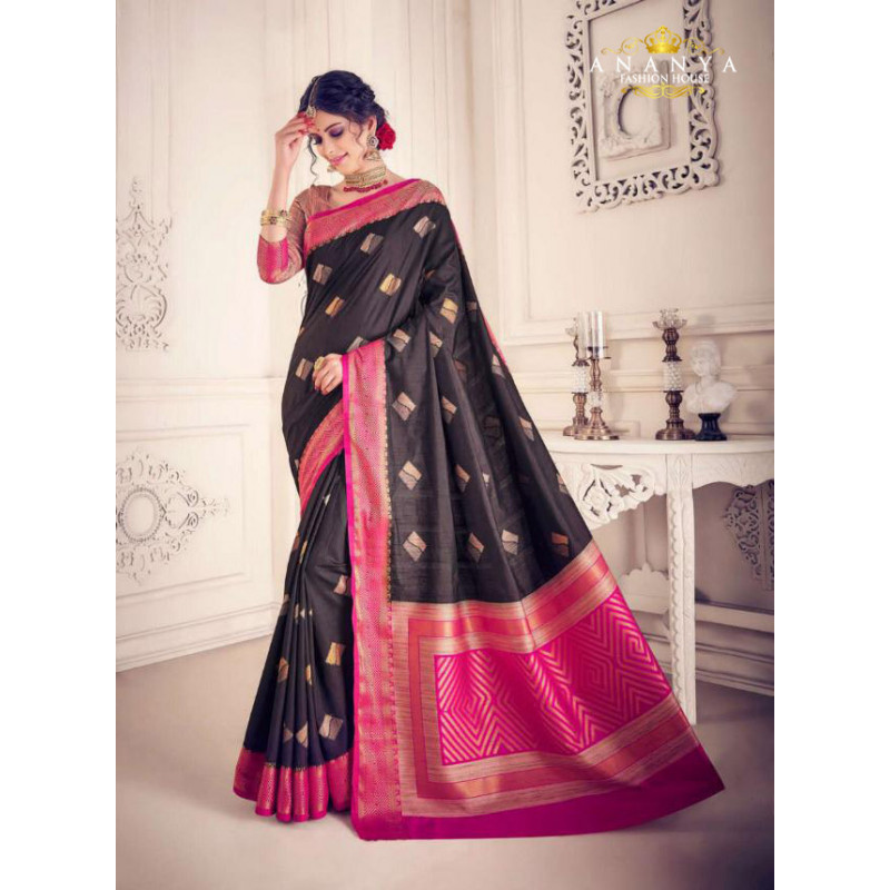 Charming Blacl Silk Saree with Magenta Blouse