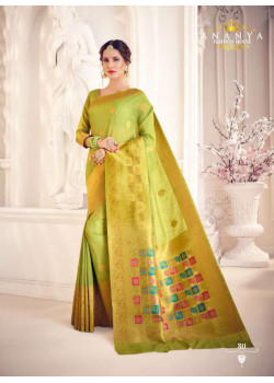 Dazzling Lime Green Silk Saree with Lime Green Blouse