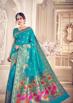 Classic Blue Silk Saree with Blue  Blouse