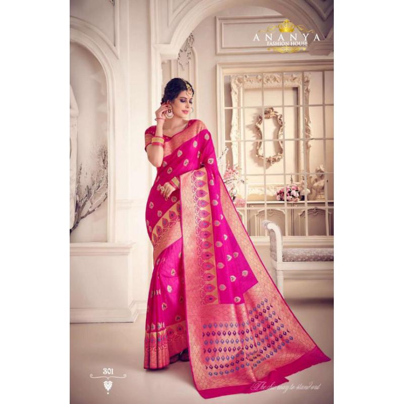 Enigmatic Magenta Silk Saree with Magenta Blouse