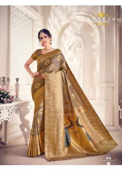 Flamboyant Gold Silk Saree with Brown Blouse