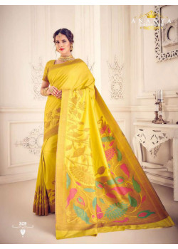 Melodic Yellow    Silk Saree with Yellow Blouse
