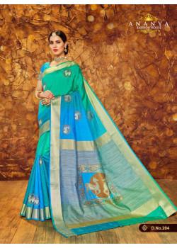 Magnificient Light Blue Silk Saree with Blue Blouse