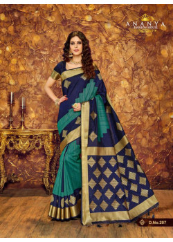 Enigmatic Dark Blue Silk Saree with Dark Blue Blouse