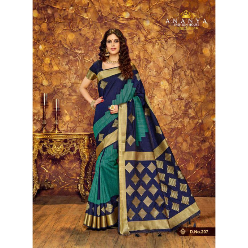 Enigmatic Dark Blue Silk Saree with Dark Blue Blouse