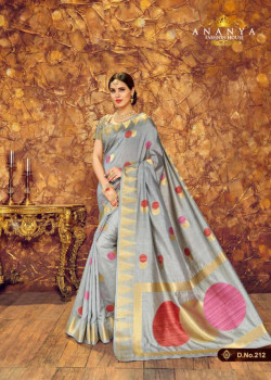 Flamboyant Grey Silk Saree with Grey Blouse