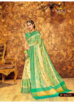 Adorable Multicolor Silk Saree with Sea Green Blouse
