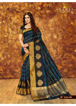 Classic Multicolor Silk Saree with Black Blouse