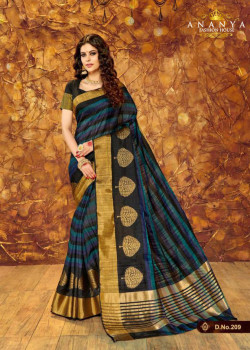 Classic Multicolor Silk Saree with Black Blouse