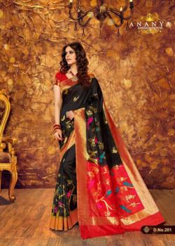 Divine Black Silk Saree with Red Blouse