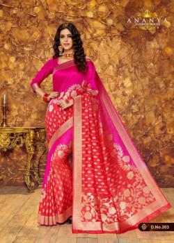 Exotic Magenta- Red Silk Saree with Magenta Blouse