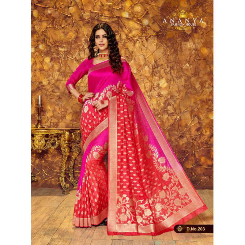 Exotic Magenta- Red Silk Saree with Magenta Blouse