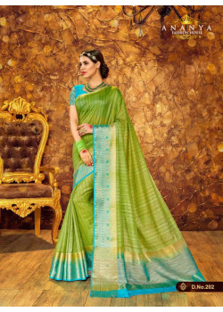 Gorgeous Green- Blue Silk Saree with Blue Blouse