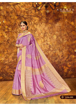 Incredible Lavender Silk Saree with Lavender Blouse