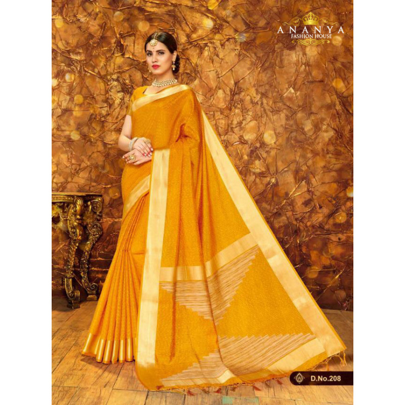 Melodic Mustard Silk Saree with Mustard Blouse