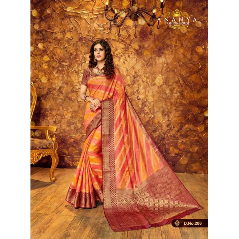 Plushy Multicolor Silk Saree with Multicolor Blouse
