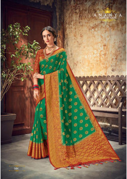Charming Dark Green Silk Saree with Maroon Blouse