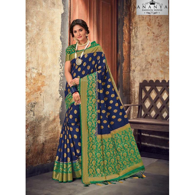 Dazzling Dark Blue Silk Saree with Dark Green   Blouse