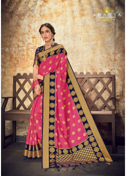 Divine Pink Silk Saree with Dark Blue Blouse