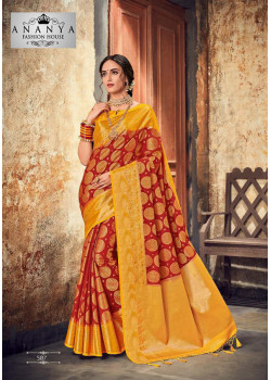 Gorgeous Yellow- Red Silk Saree with Yellow Blouse