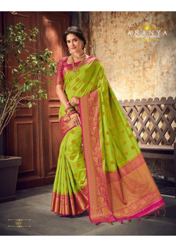 Melodic Green Silk Saree with Magenta Blouse