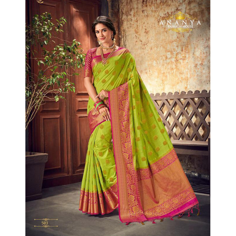 Melodic Green Silk Saree with Magenta Blouse