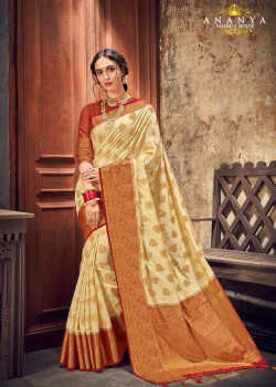 Trendy Off White Silk Saree with Maroon Blouse