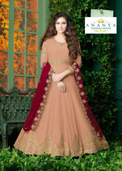 Charming Light Peach Faux Georgette- Santoon Salwar kameez