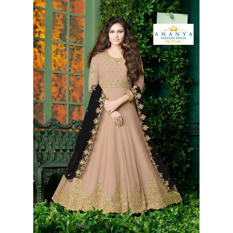 Dazzling Light Beige Faux Georgette- Santoon Salwar kameez