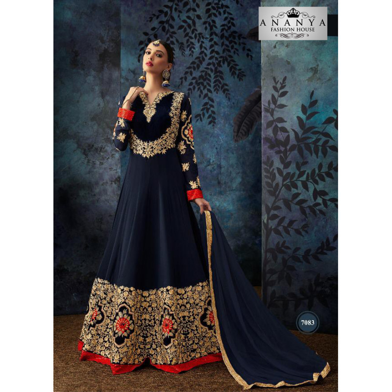 Exotic Dark Blue Geogrette- Santoon Salwar kameez