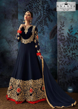 Exotic Dark Blue Geogrette- Santoon Salwar kameez