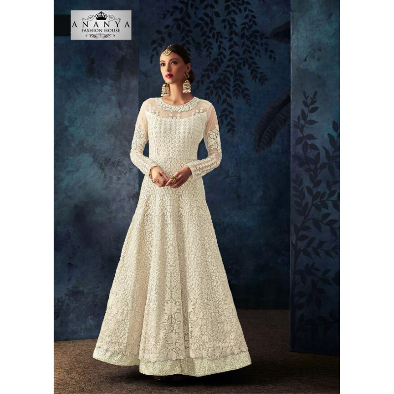 Magnificient White Net- Silk Salwar kameez