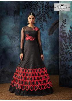 Plushy Black Organza Silk  Salwar kameez
