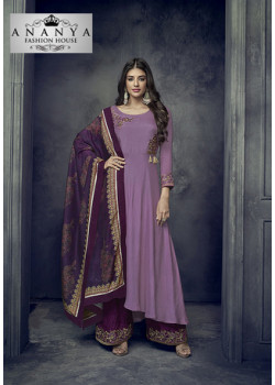 Melodic Lavender Heavy Muslin Salwar kameez