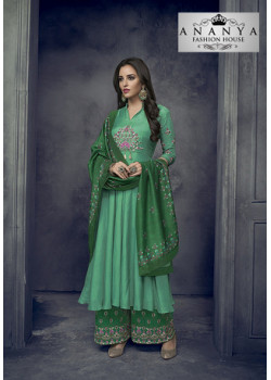 Flamboyant Sea Green Heavy Muslin Salwar kameez