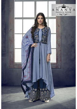 Luscious Pastel Blue Heavy Muslin Salwar kameez