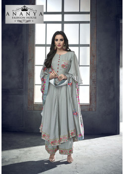 Adorable Grey Heavy Muslin Salwar kameez