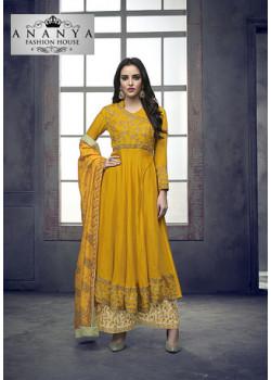 Classic Yellow Heavy Muslin Salwar kameez