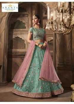 Flamboyant Light Blue color Net - Santoon Designer Lehenga