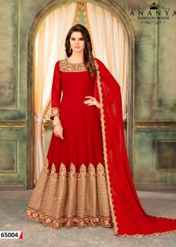Dazzling Red Faux Georgette- Santoon Salwar kameez