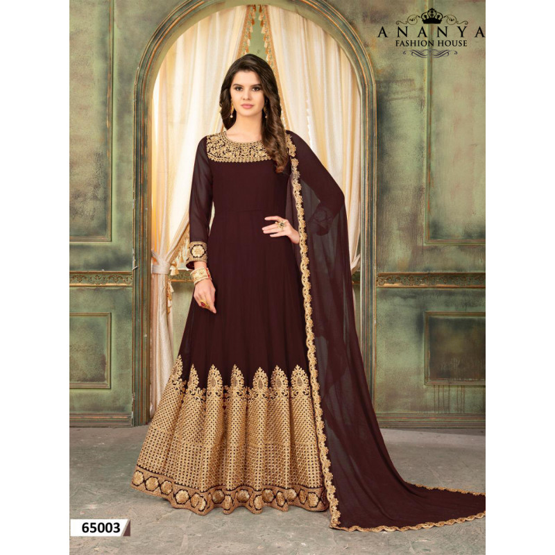 Charming Brown Faux Georgette- Santoon Salwar kameez