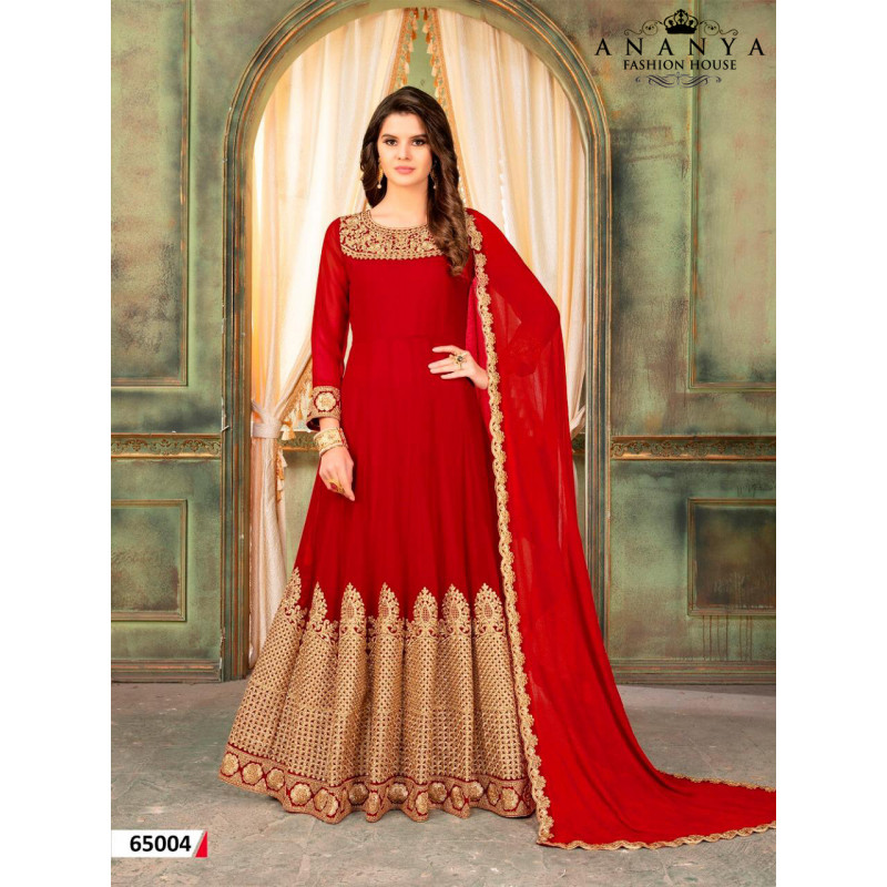Dazzling Red Faux Georgette- Santoon Salwar kameez