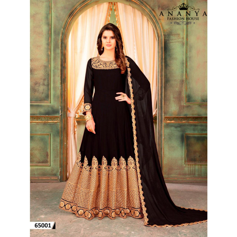 Trendy Black Faux Georgette- Santoon Salwar kameez