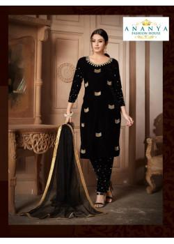 Divine Black Velvet Salwar kameez