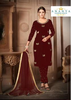 Gorgeous Maroon Velvet Salwar kameez