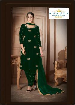 Magnificient Bottle Green Velvet Salwar kameez
